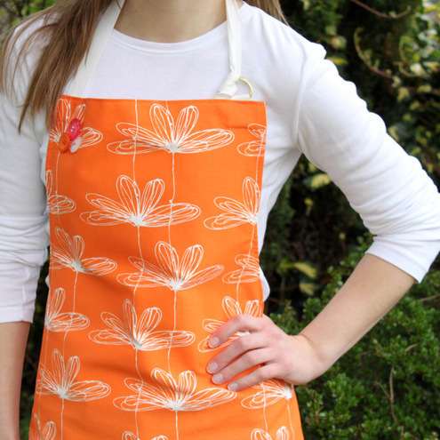 Orange Etched Floral Apron by Rachel Taylor Designs
