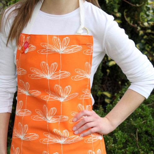 Orange Etched Floral Apron by Rachel Taylor Designs