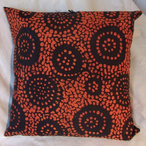 Black and Orange Silk Cushion by Mana Cusions