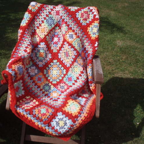 Granny Squares Crocheted Blanket by Summerfield