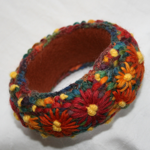 Orange Daisies Bangle by Lynnwood Crafts