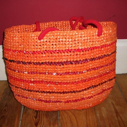 Orange Crocheted Recycled Plastic Shoulder Bag by Merja's Crochet recycle