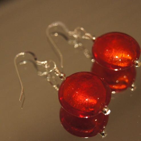 Cherry red earrings