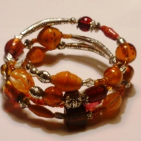 Orange and Topaz Wraparound Bracelelt by Putting on the Charms
