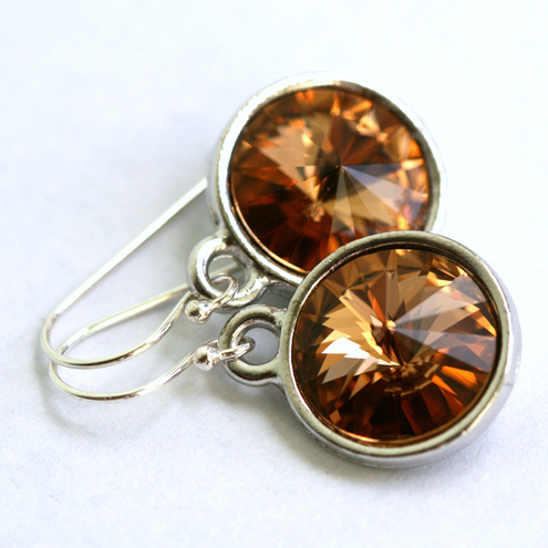 Light Colorado Topaz Crystal Sterling Silver Earrings by Z. M. Designs