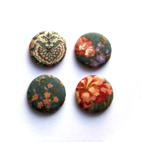 Kaela Mills:Four Teal Floral Fabric Badges