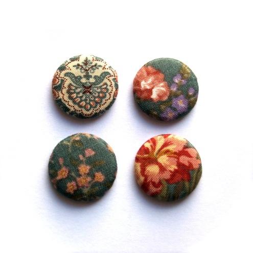 Kaela Mills:Four Teal Floral Fabric Badges