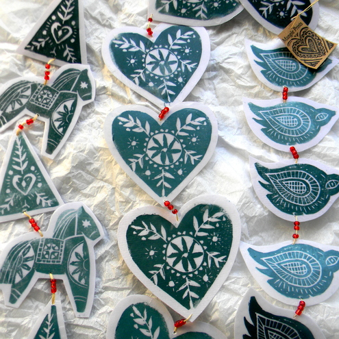 Mangle Prints: Lino Print Garlands